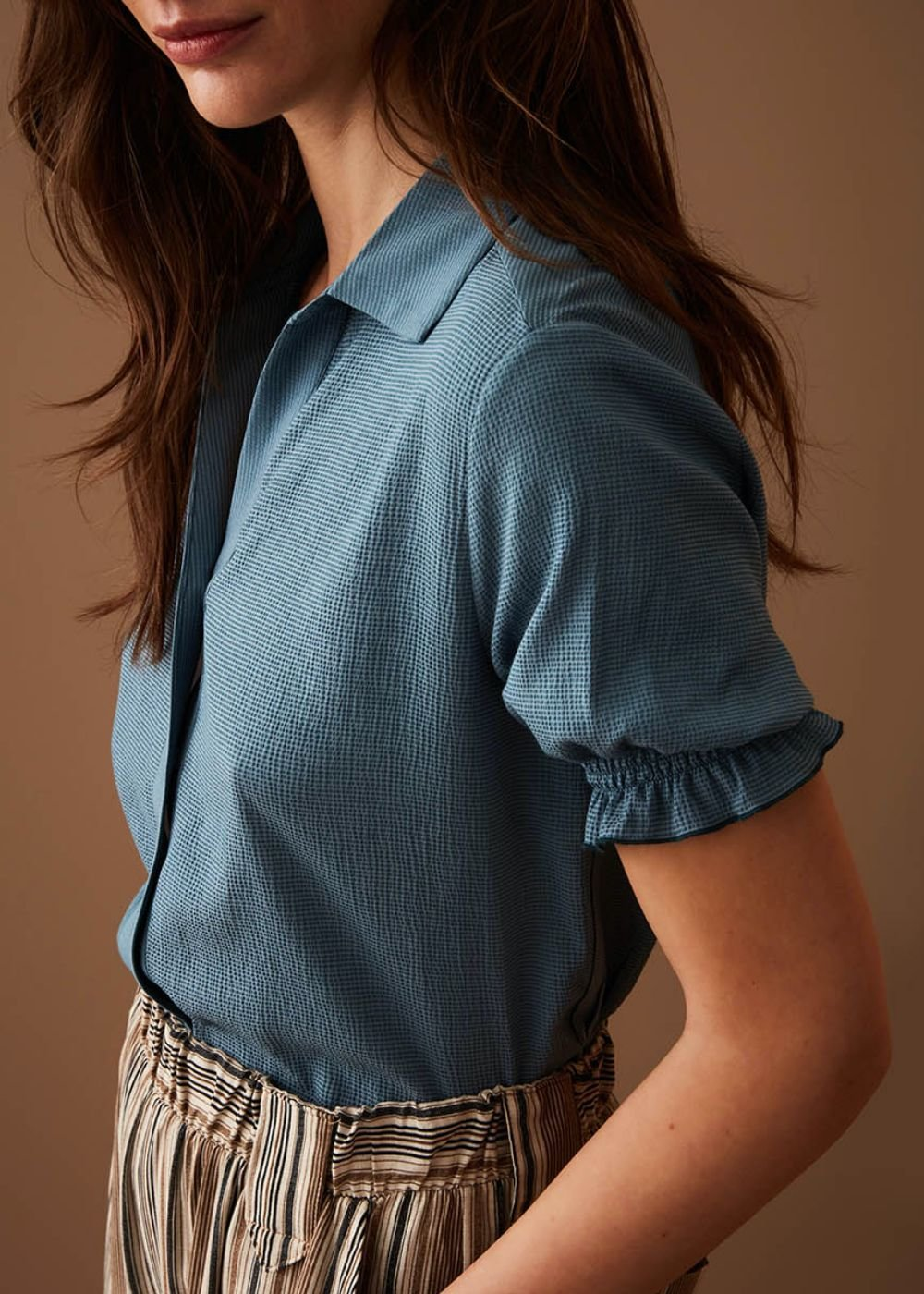 Clery shirt with smock stitch detail - Sasso - Woman