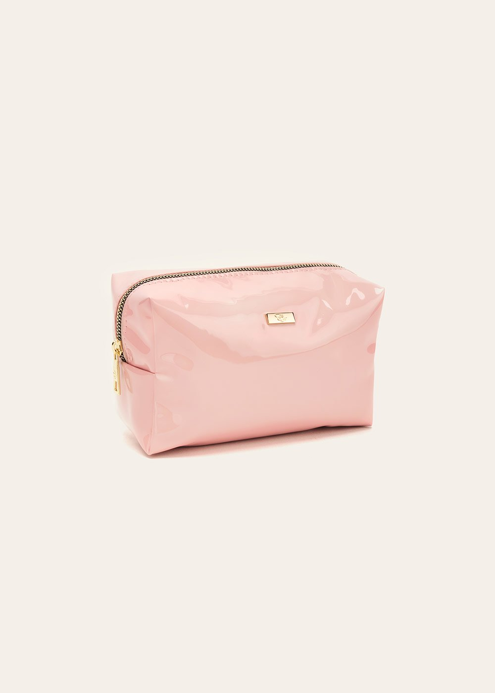 Blanc vanity case with patent-leather effect - Sepia - Woman