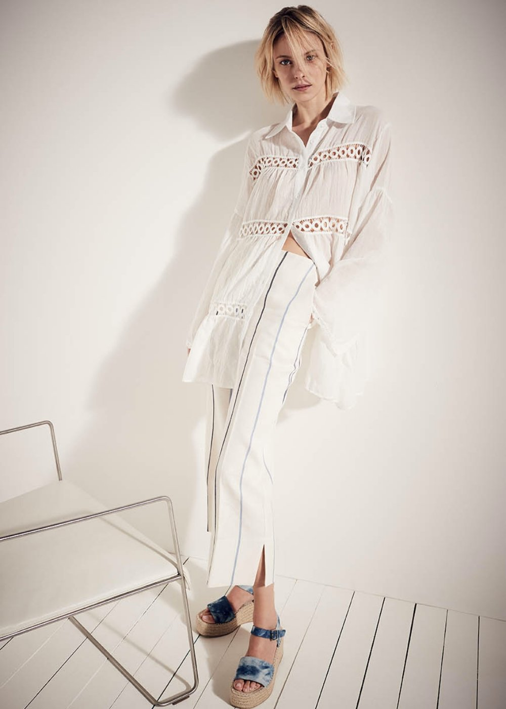 Cyril shirt with flounces and embroidery - White - Woman