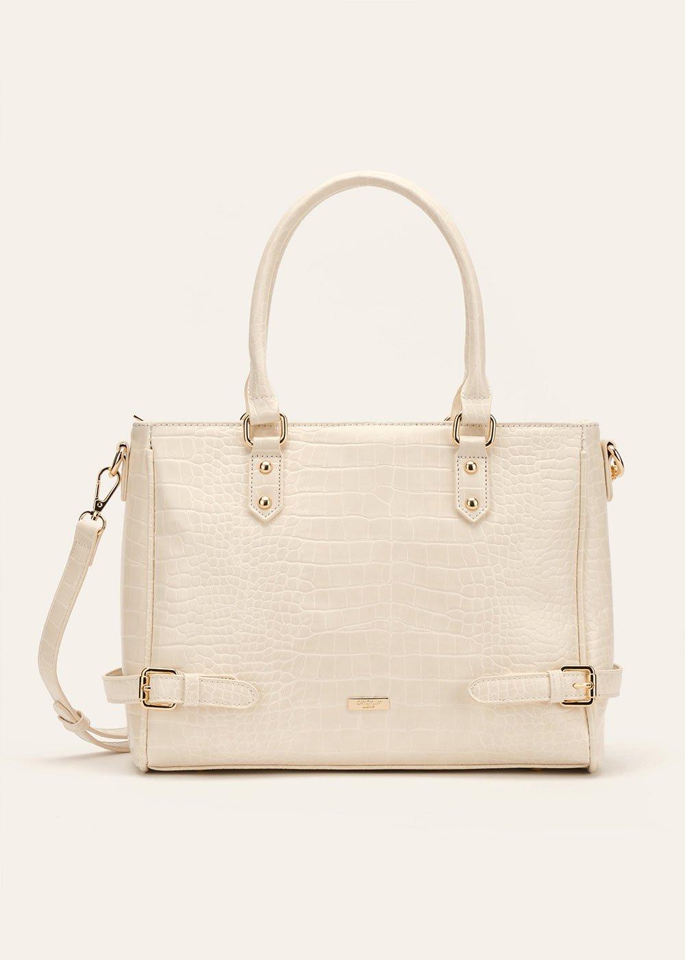 Bianca crocodile-effect shopping bag - Beige - Woman