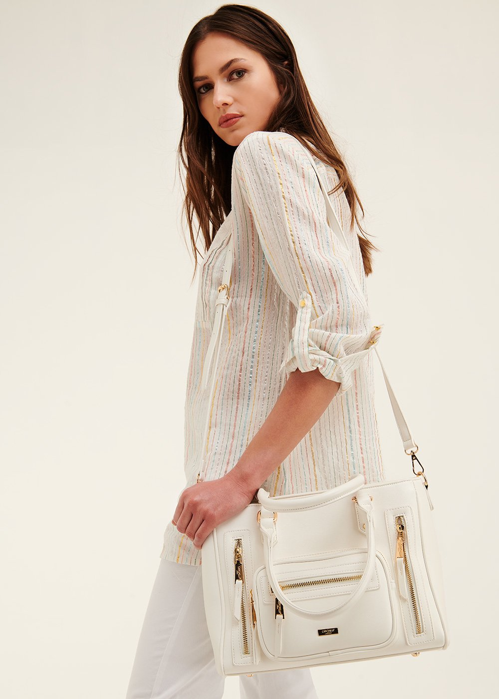 Shopping bag Benedetta multi zip - White - Donna