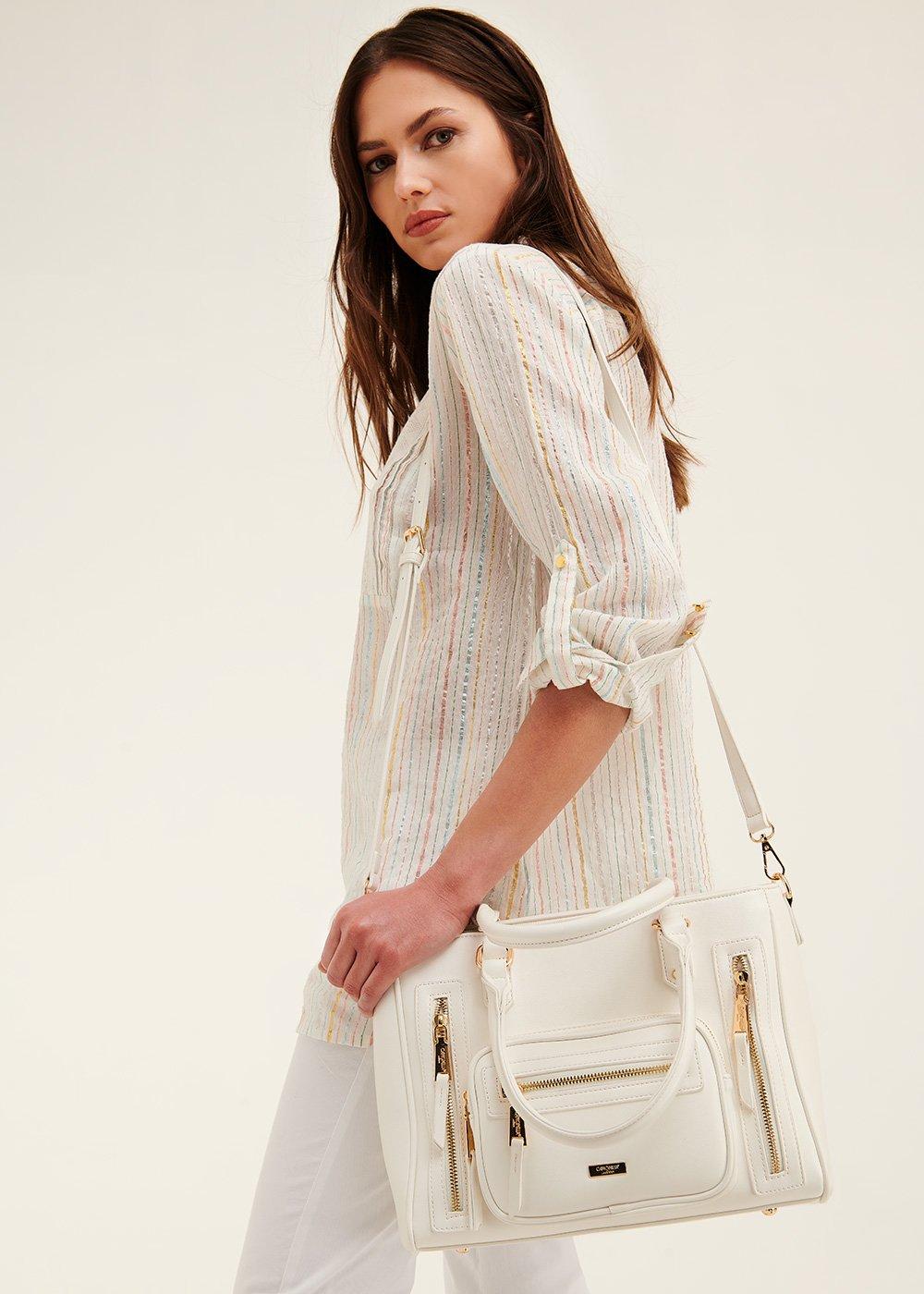 Benedetta multi-zip shopping bag - White - Woman