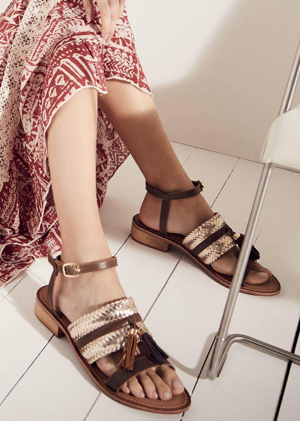 Sandali Sybil in vera pelle - Cacao - Donna