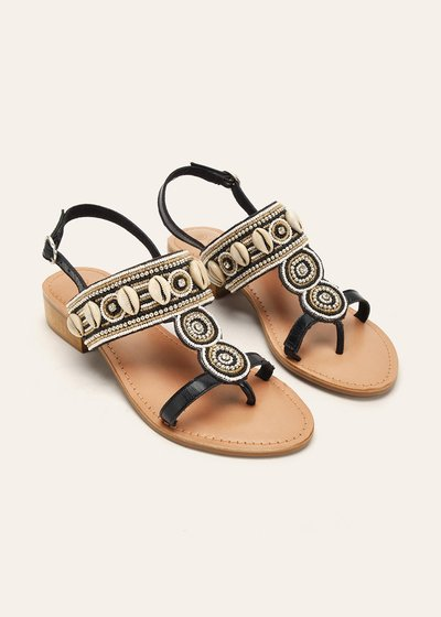 Skye genuine leather sandals with shells