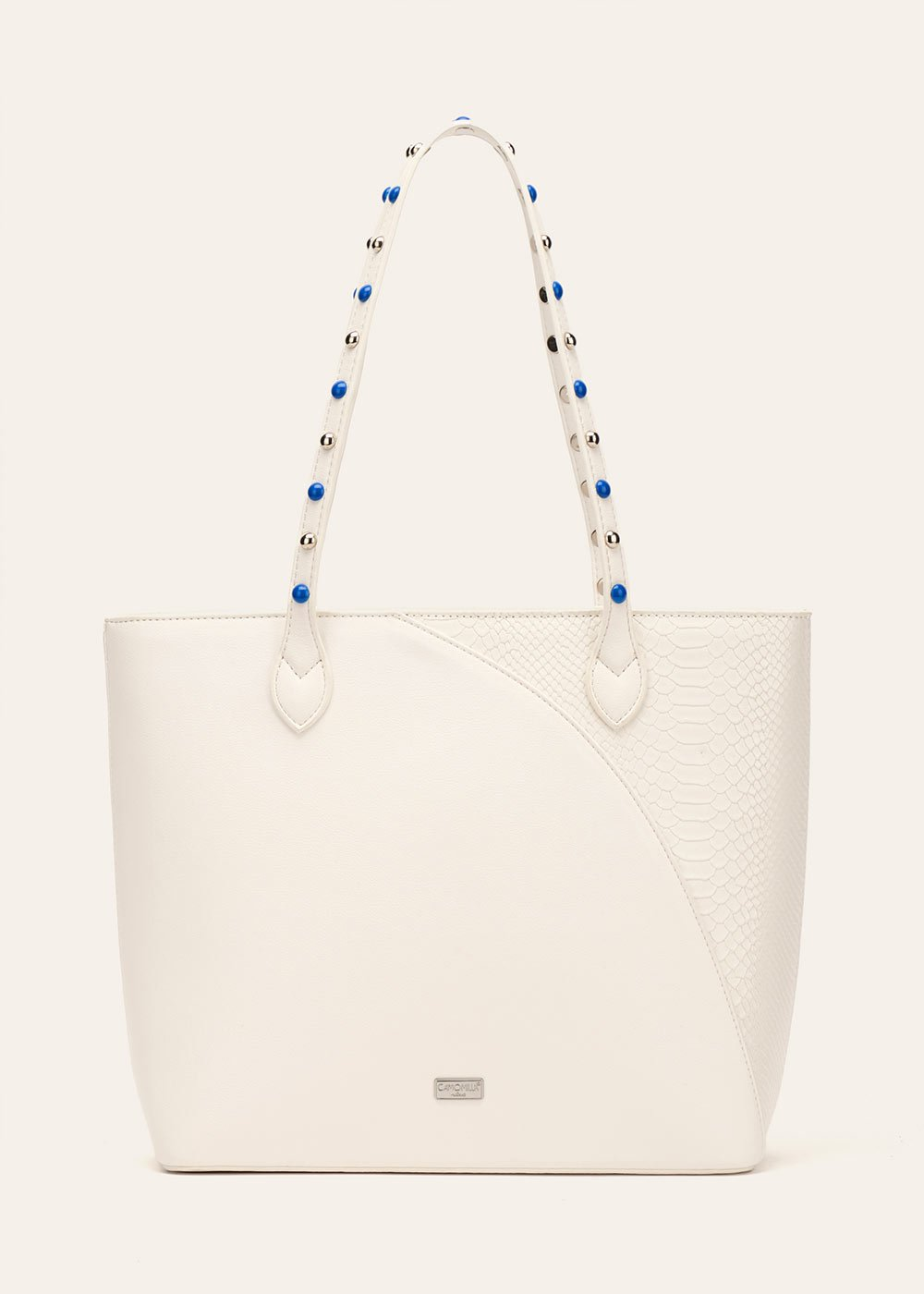Bradley shopping bag with decorated handle - White - Woman