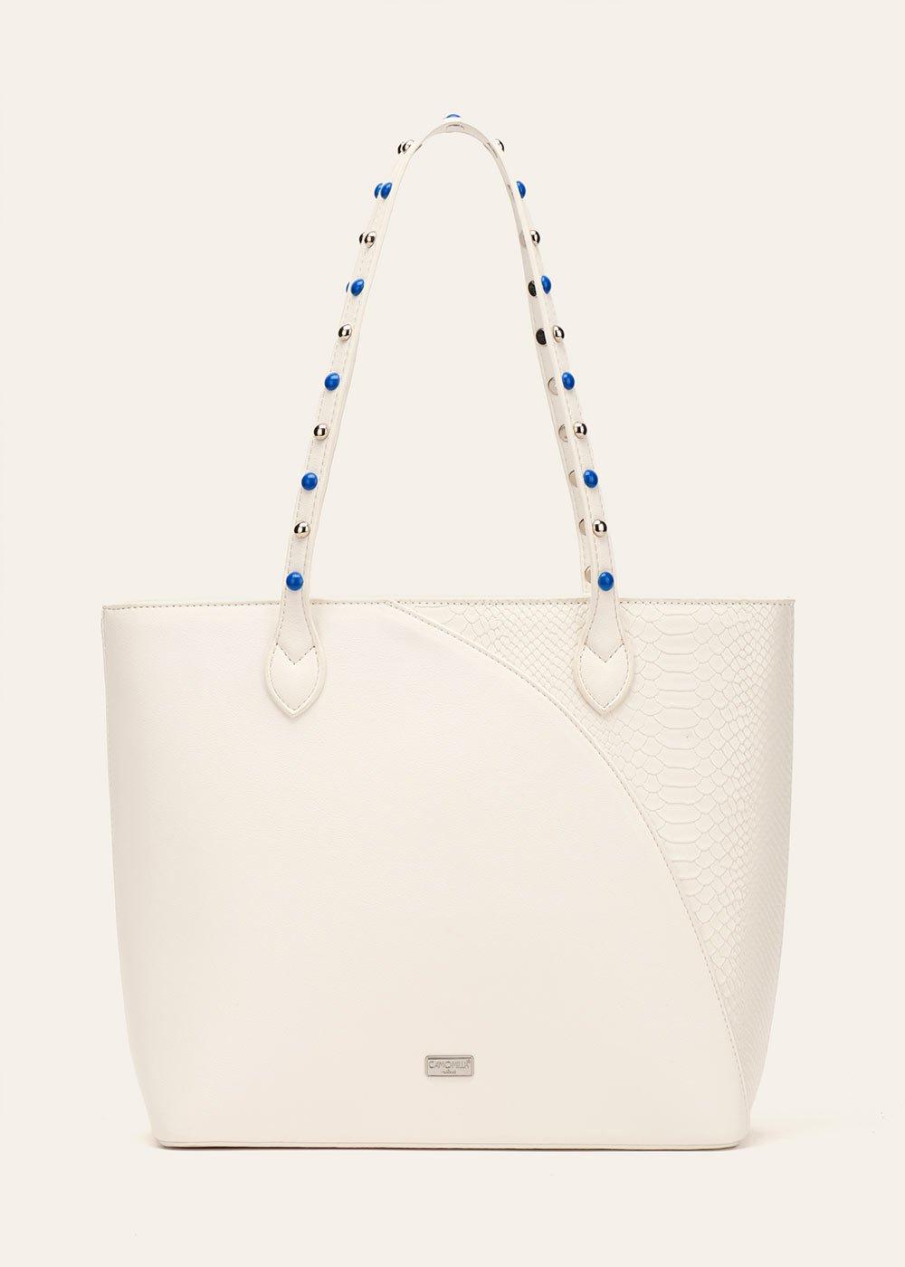 Shopping bag Bradley con manico decorato - White - Donna