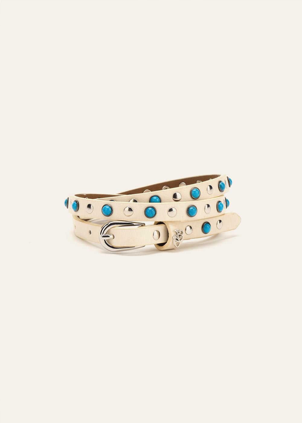Cabryl belt with studs and stones - White - Woman