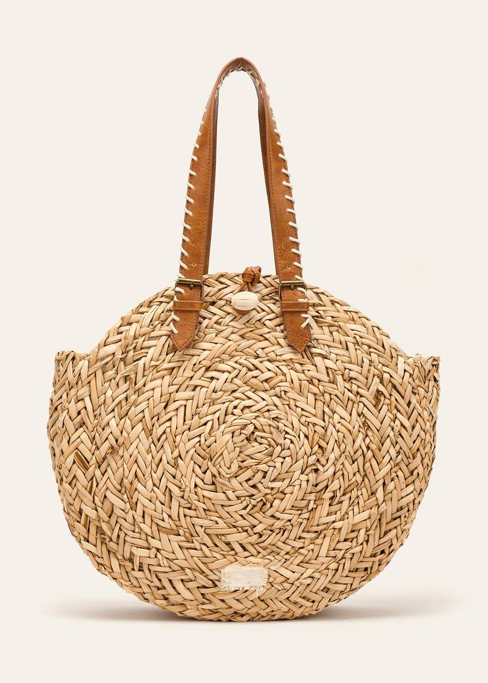 Bianka round woven straw bag - Safari - Woman