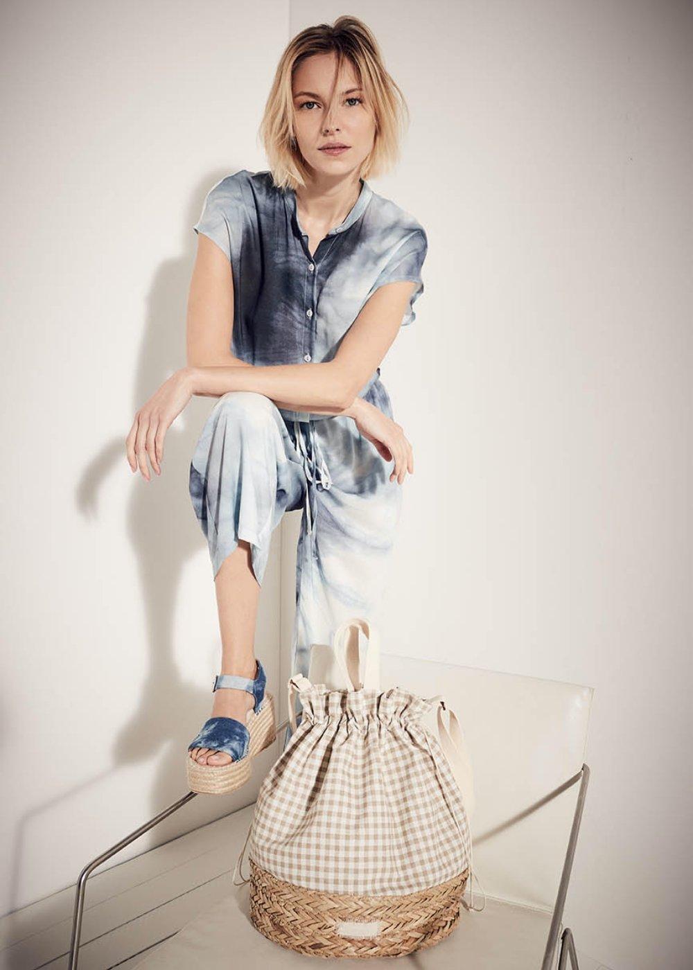 Bora vichy print straw bag - Beige - Woman