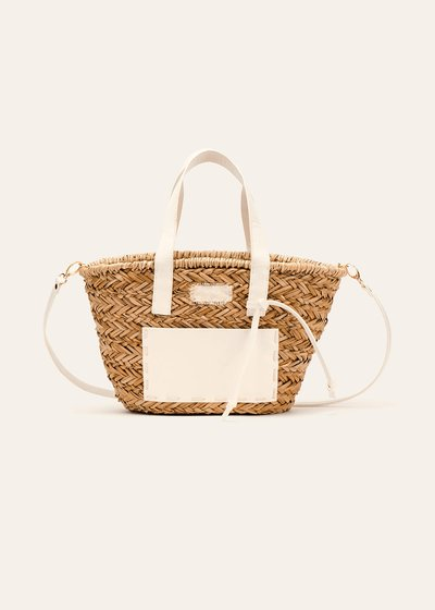 Bice straw shopping bag with faux-leather pocket
