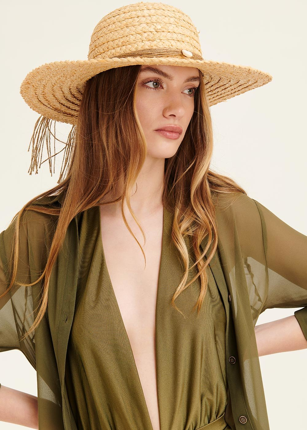 Colby hat with decorated drawstring - Safari - Woman