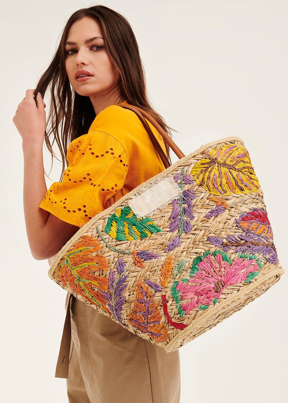 Bly embroidered beach basket bag - Papaya - Woman
