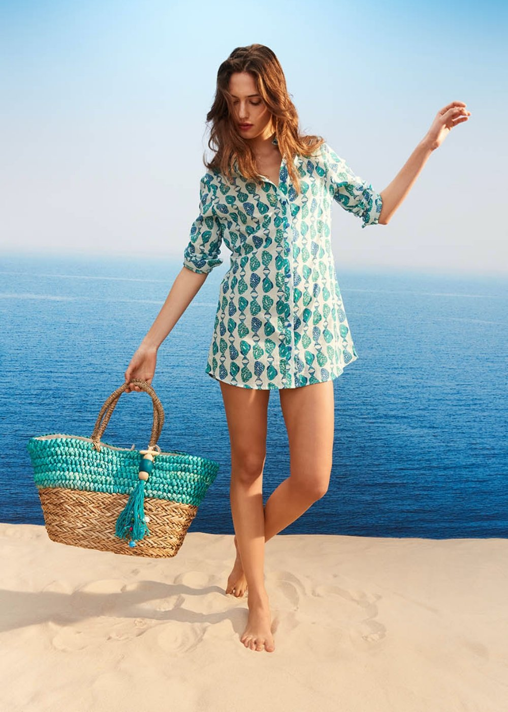 Bengy beach basket bag with turquoise details - Turquoise - Woman