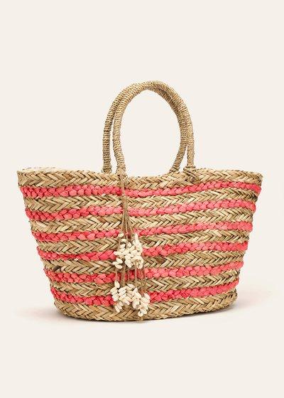 Benley striped beach basket bag