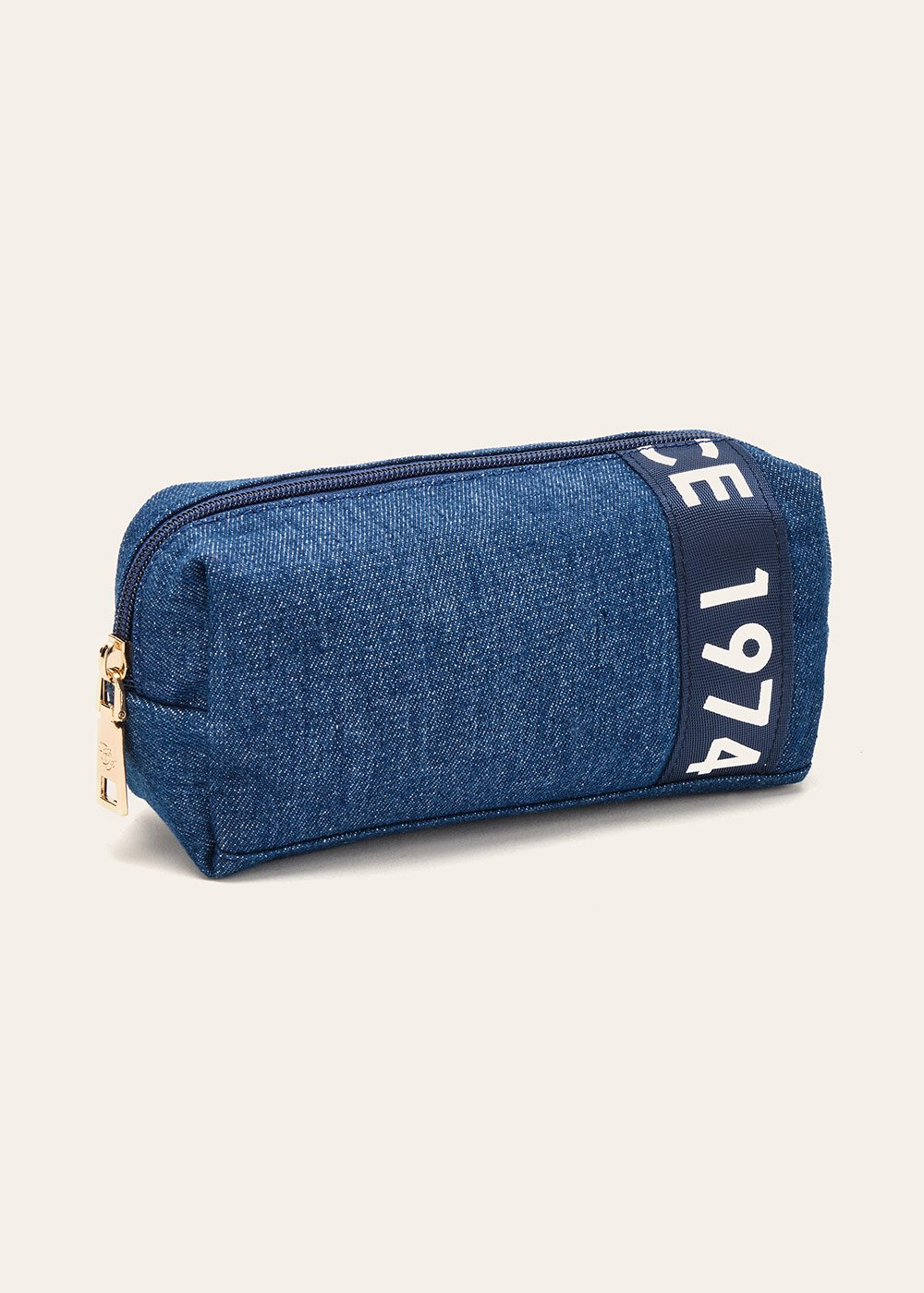 Baddy cotton denim vanity case - Medium Denim - Woman