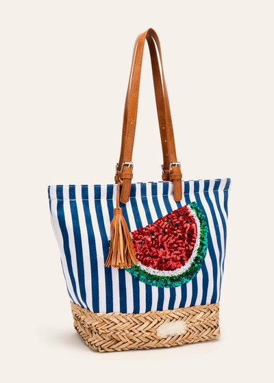 Blecky cotton and straw shopping bag