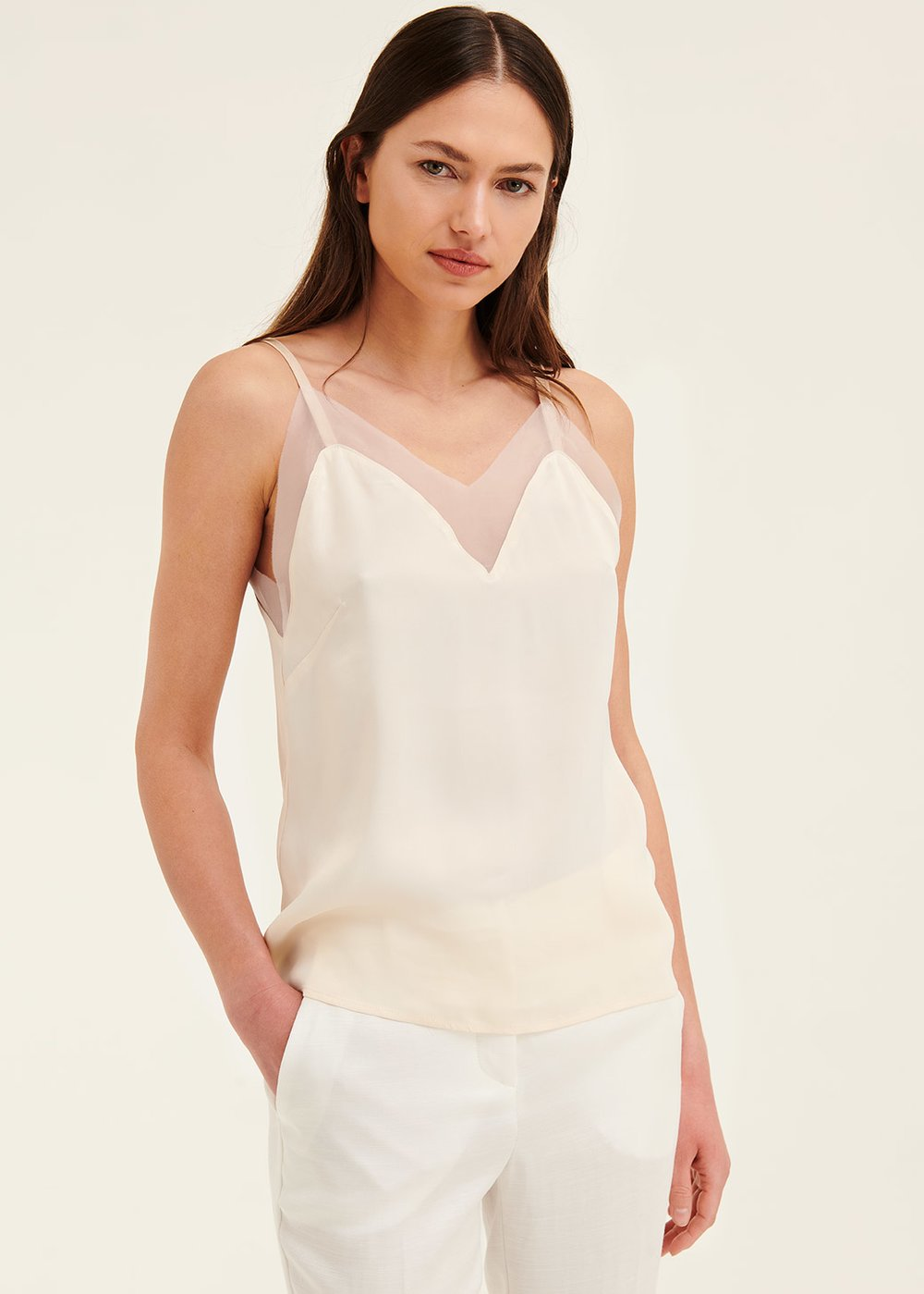 Thorn top with organza - White - Woman