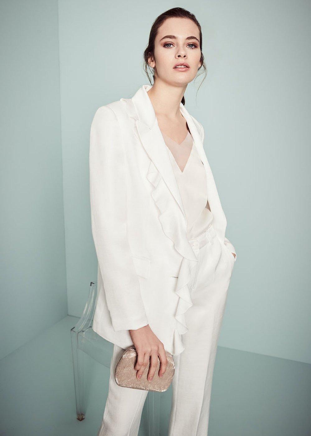 Giasmine jacket with ruffles - White - Woman