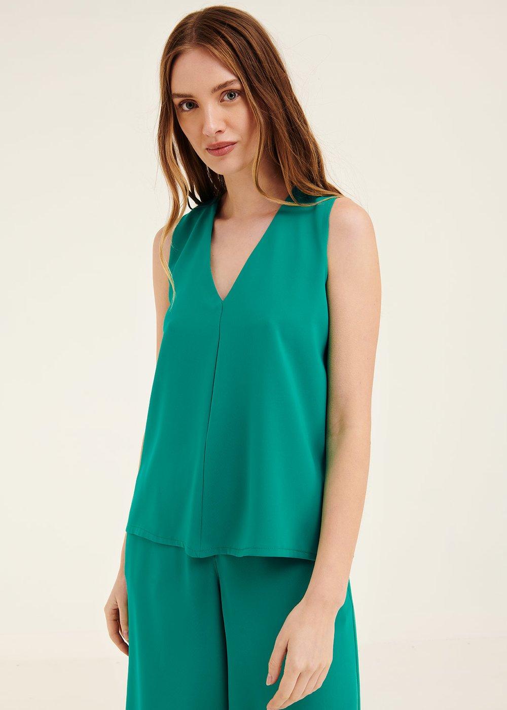 Ashley top with pleat - Smeraldo - Woman