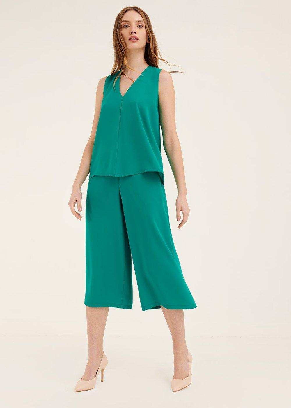 Pantalone Megan con abbottonatura - Smeraldo - Donna