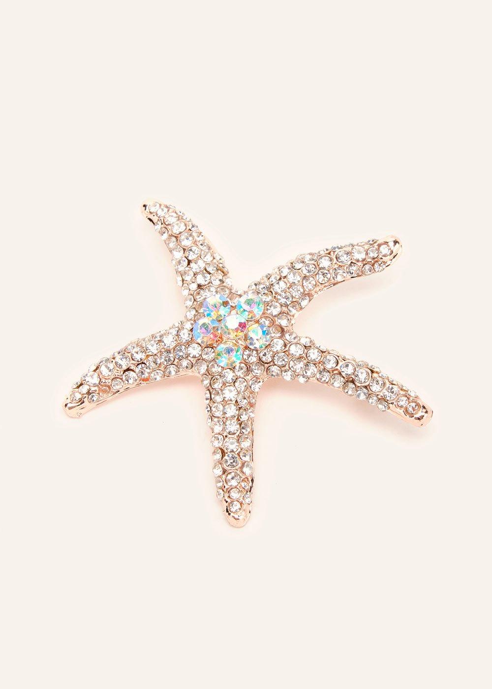 Stars brooch with aurora borealis rhinestones - Gold Rose - Woman