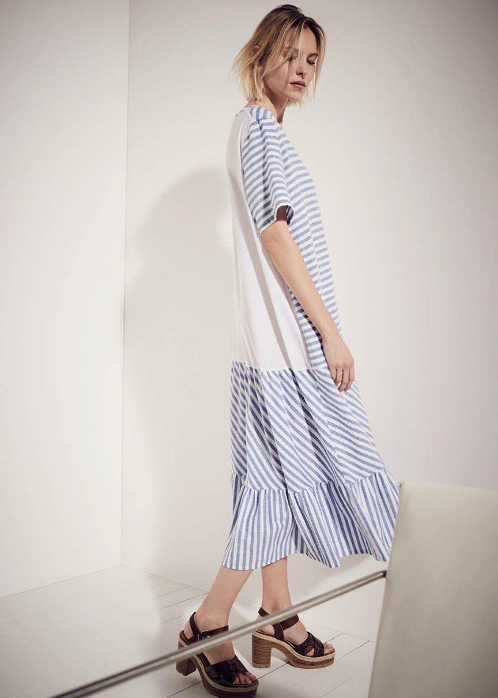 Ashley linen-blend dress - Cielo / White / Stripes - Woman
