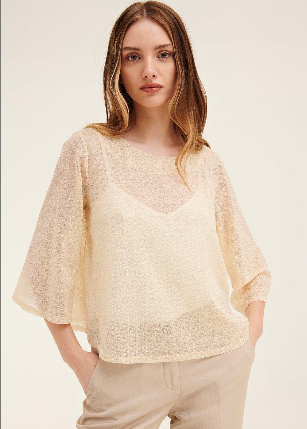 Samantha lurex t-shirt - Safari - Woman