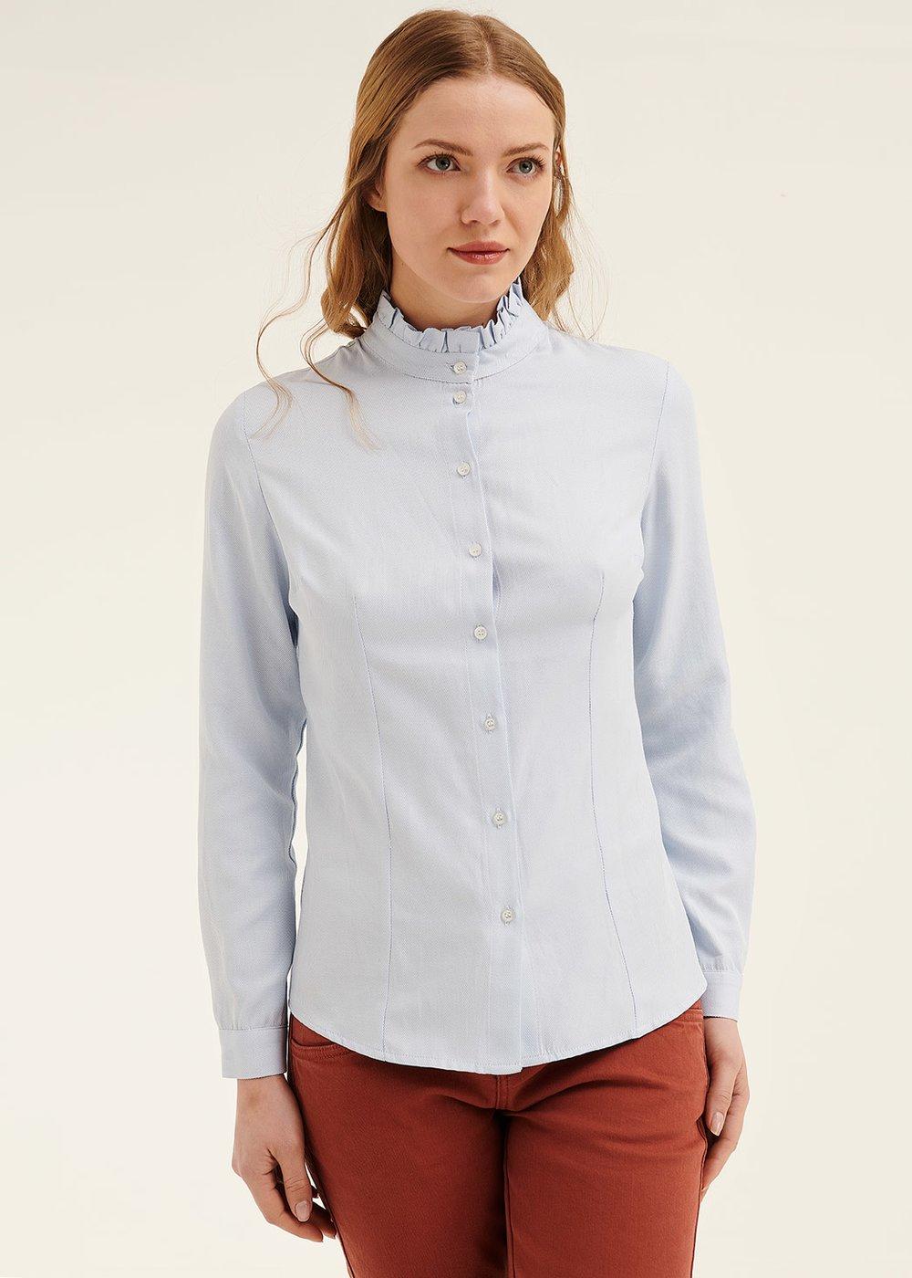 Camicia Cathryn con colletto rouches - Cielo - Donna
