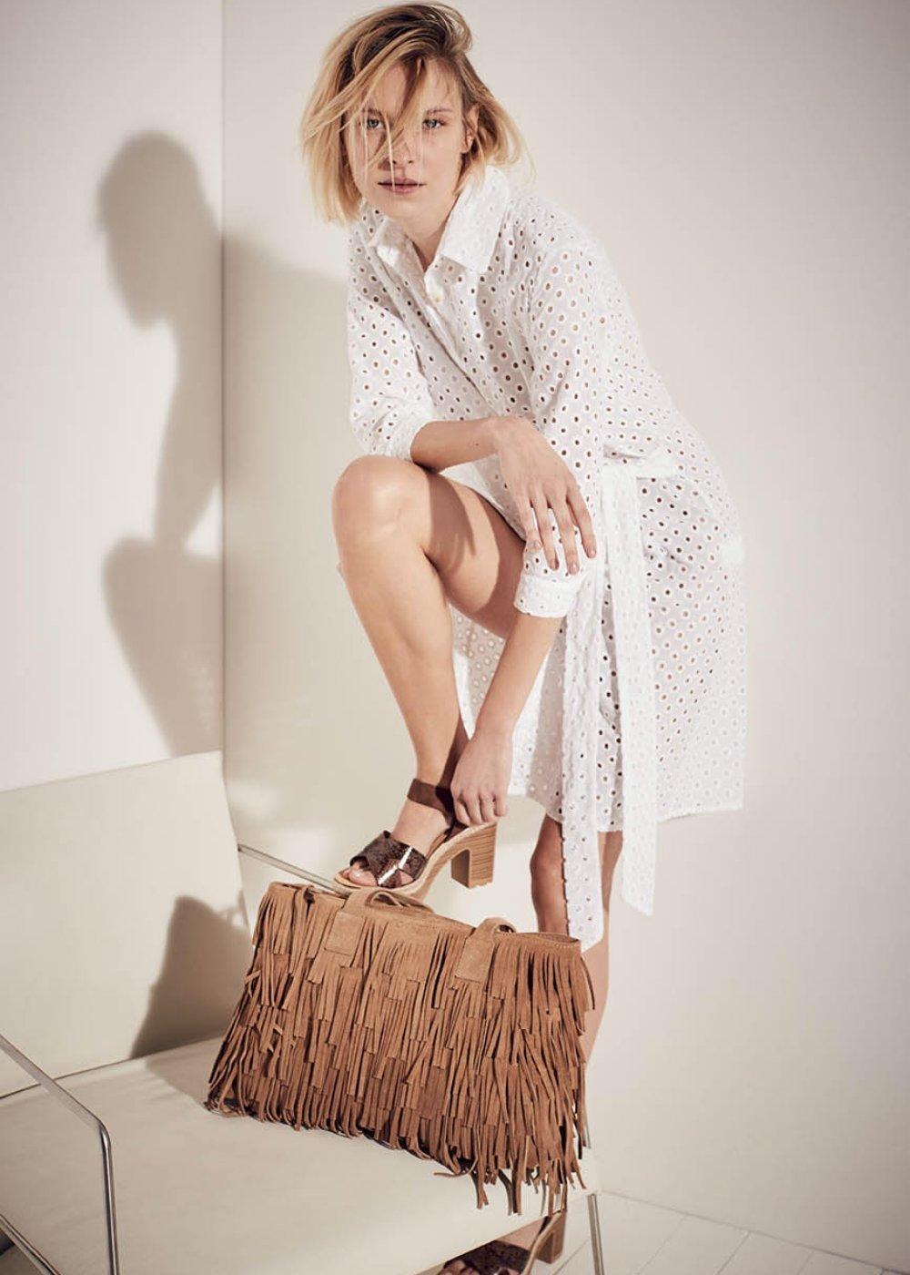 Shopping bag Bettye in vera pelle con frange - Safari - Donna