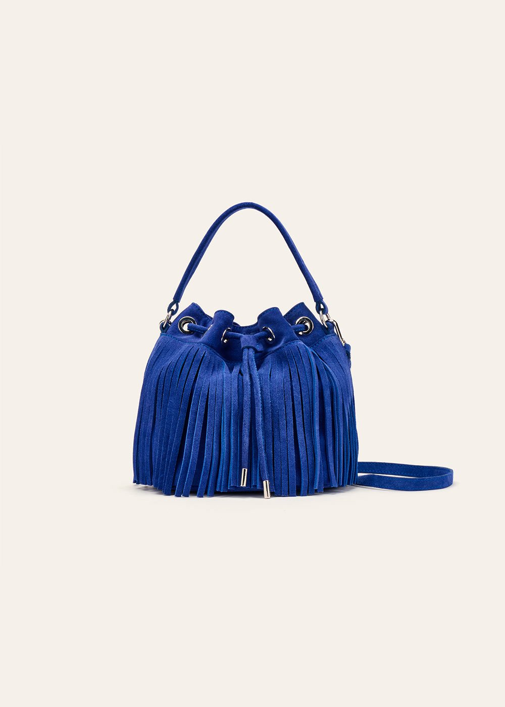 Beatrix genuine leather bucket bag with fringes - Abisso - Woman