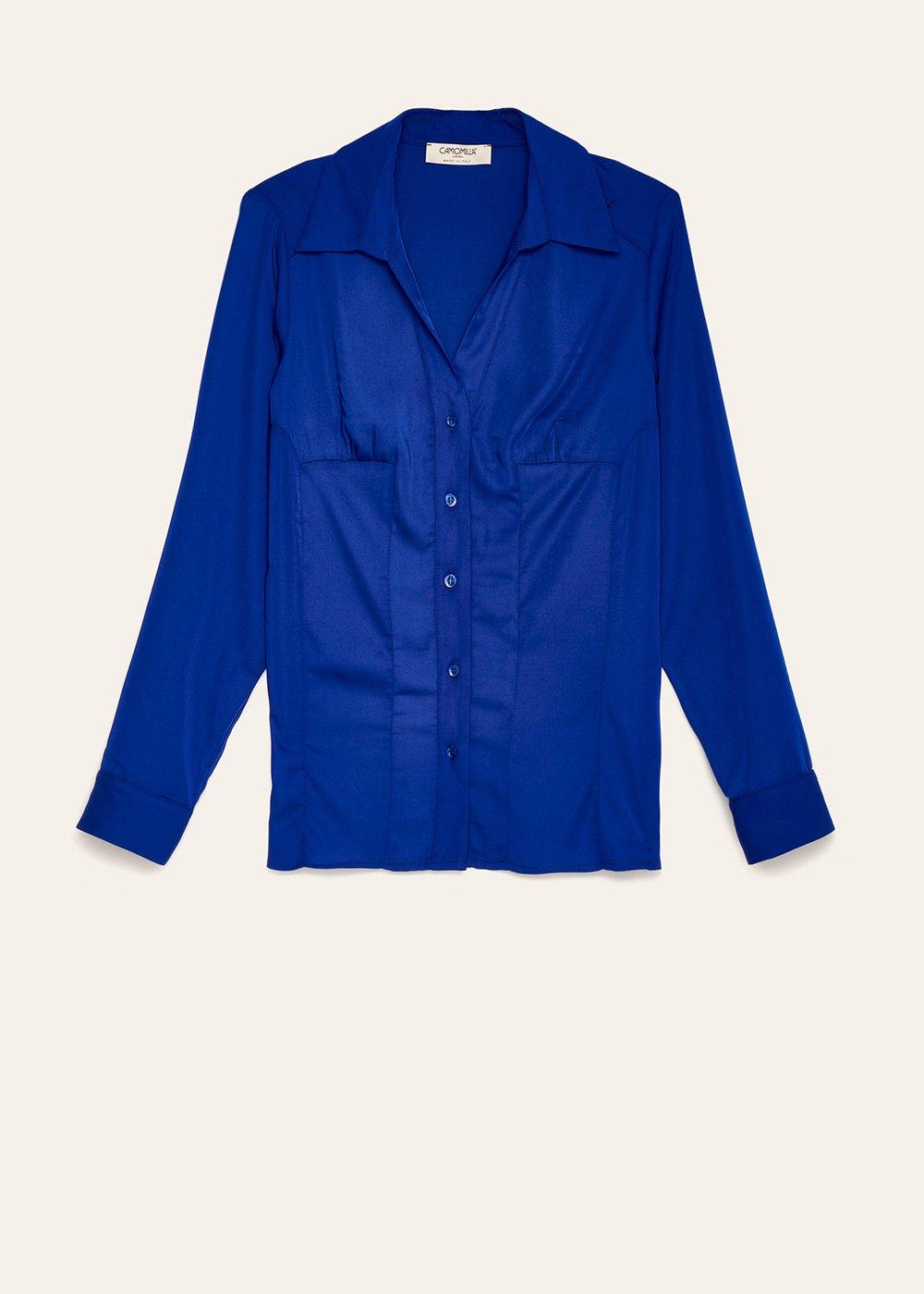 Camicia Scarlett in simil satine - Abisso - Donna