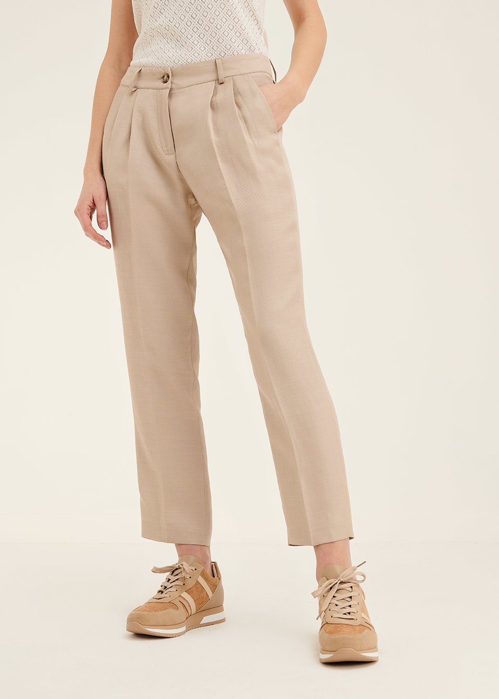 Pantalone Gigi in viscosa con pinces - Safari - Donna