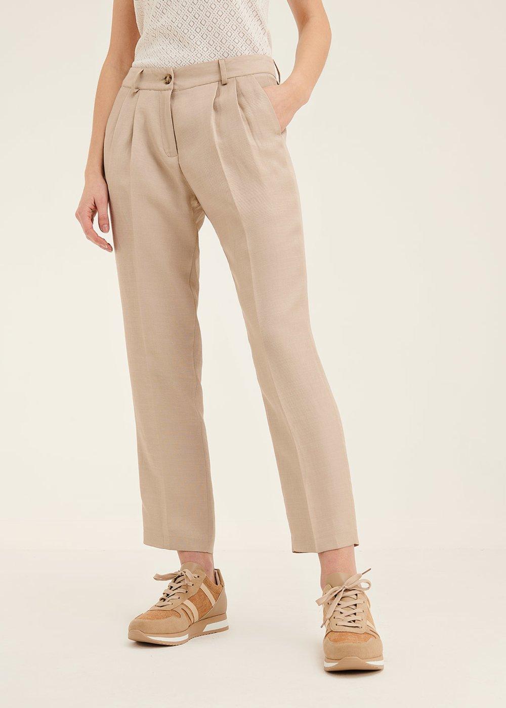 Gigi viscose trousers with darts - Safari - Woman