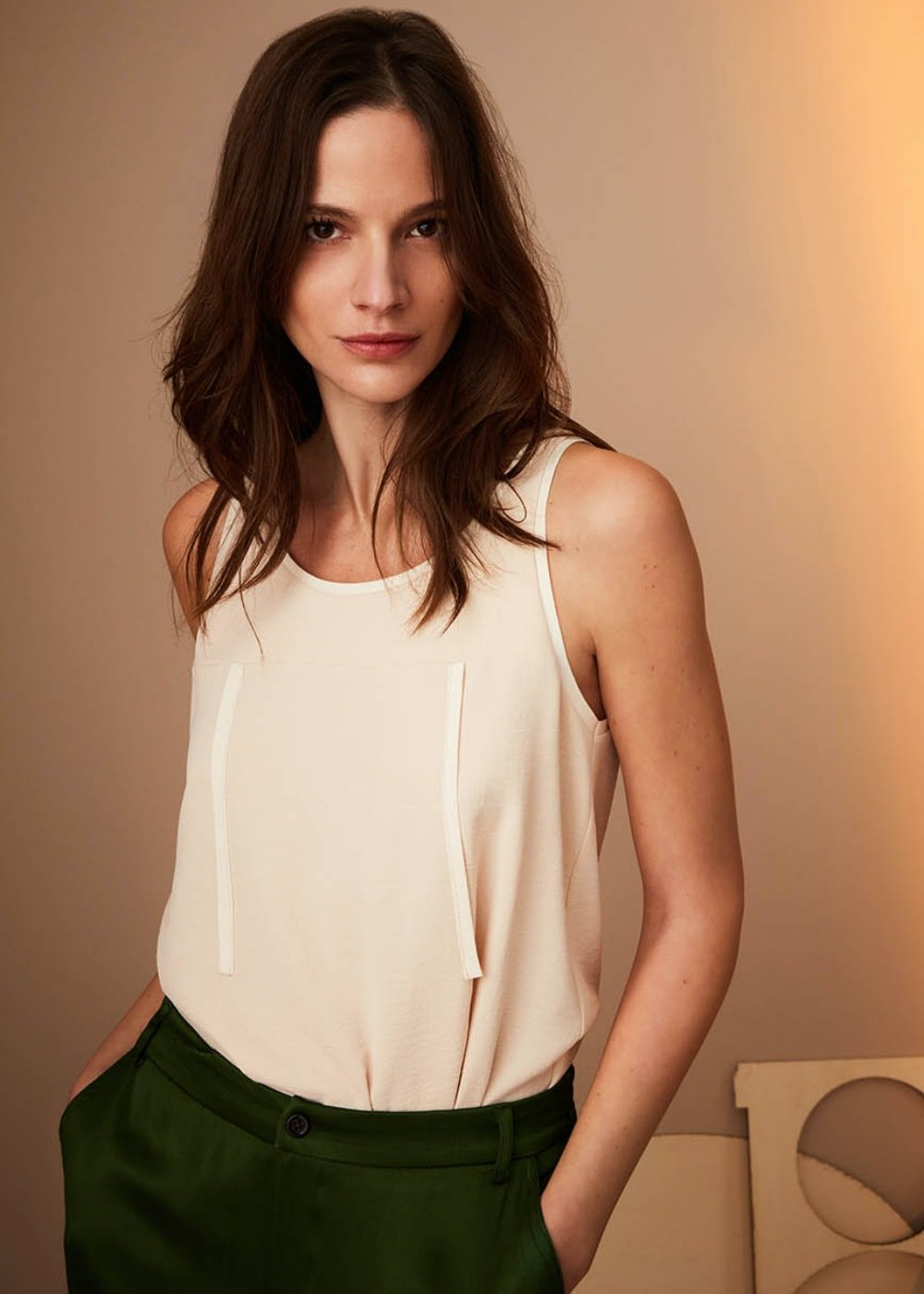 Tod top with edging - Doeskin - Woman