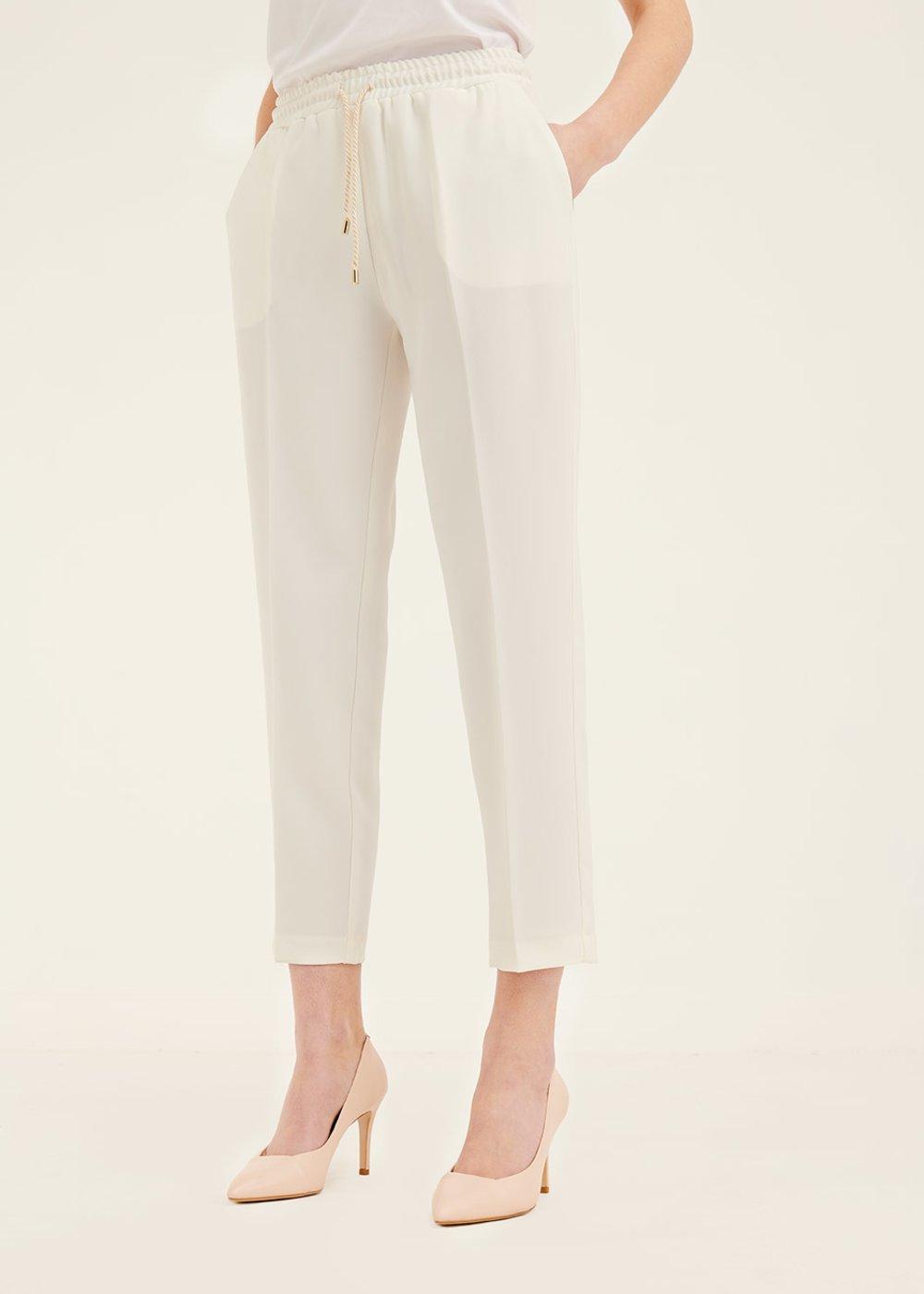 Pantalone Cara con coulisse in vita - White - Donna