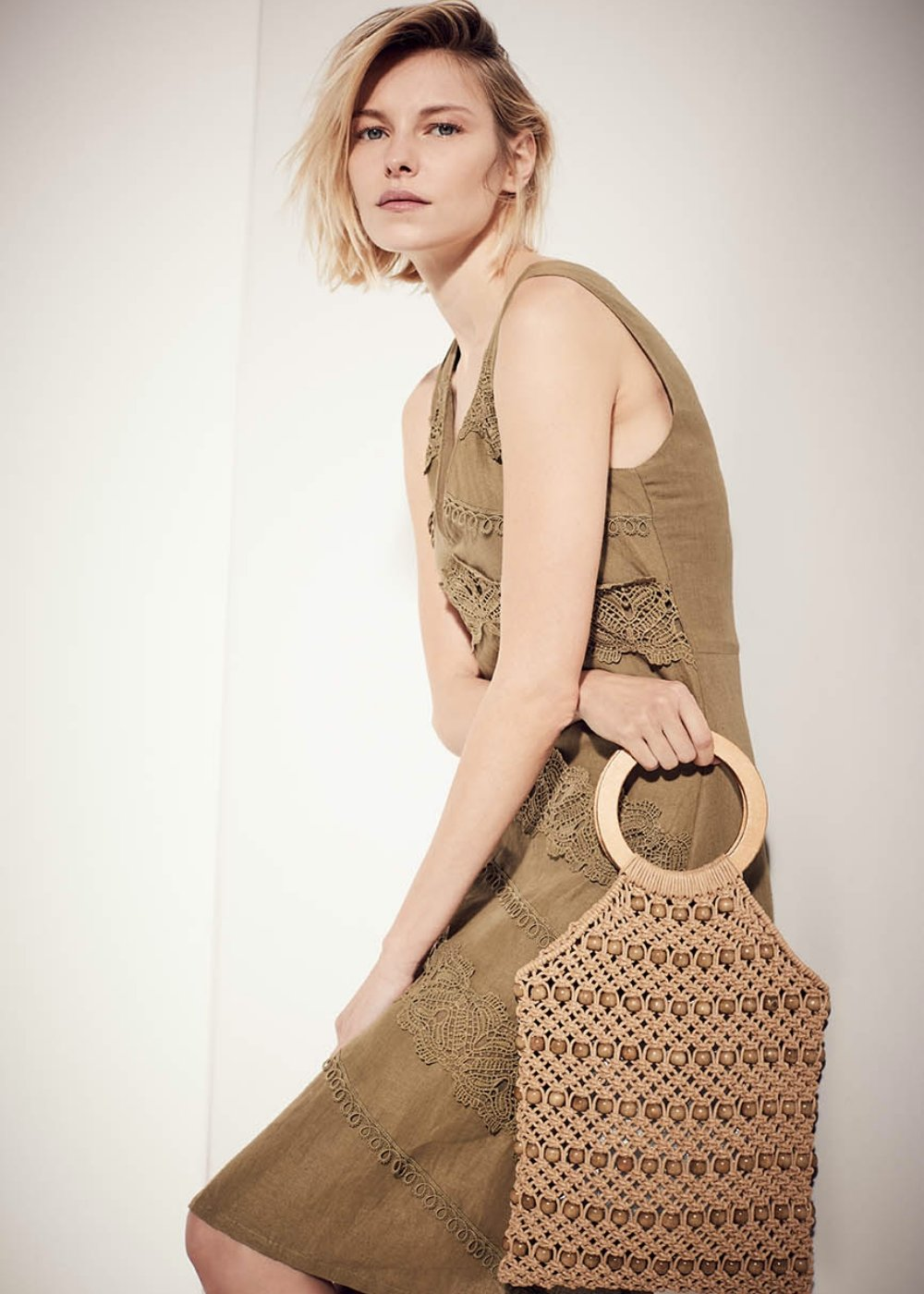 Bea rope clutch bag with corals - Safari - Woman