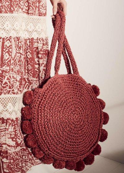 Shopping bag Beckie tonda con pom pom