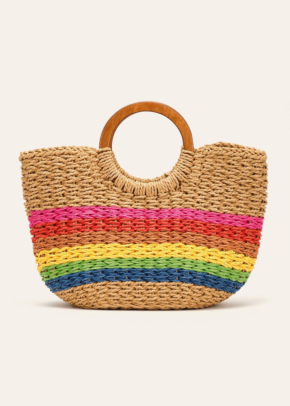 Bindy shopping bag with wooden handles - Safari - Woman