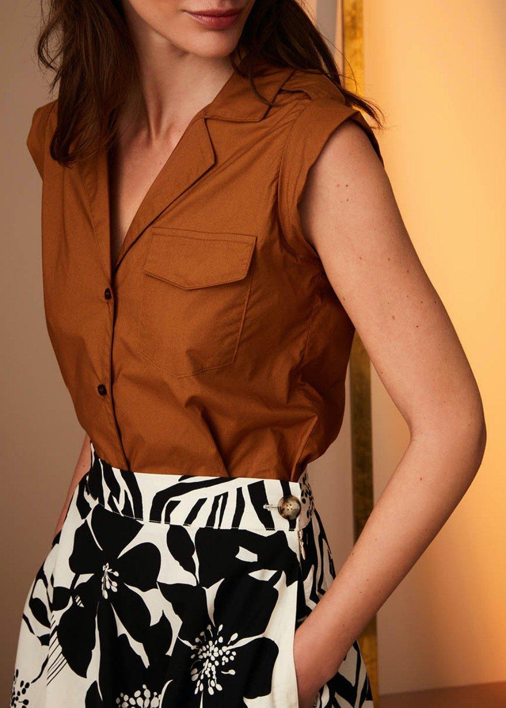Camicia Lara giro manica in cotone - Terra - Donna