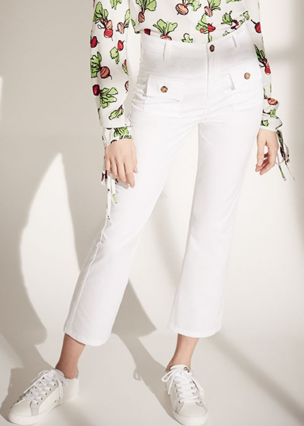 Cindy trousers with front pockets - White - Woman