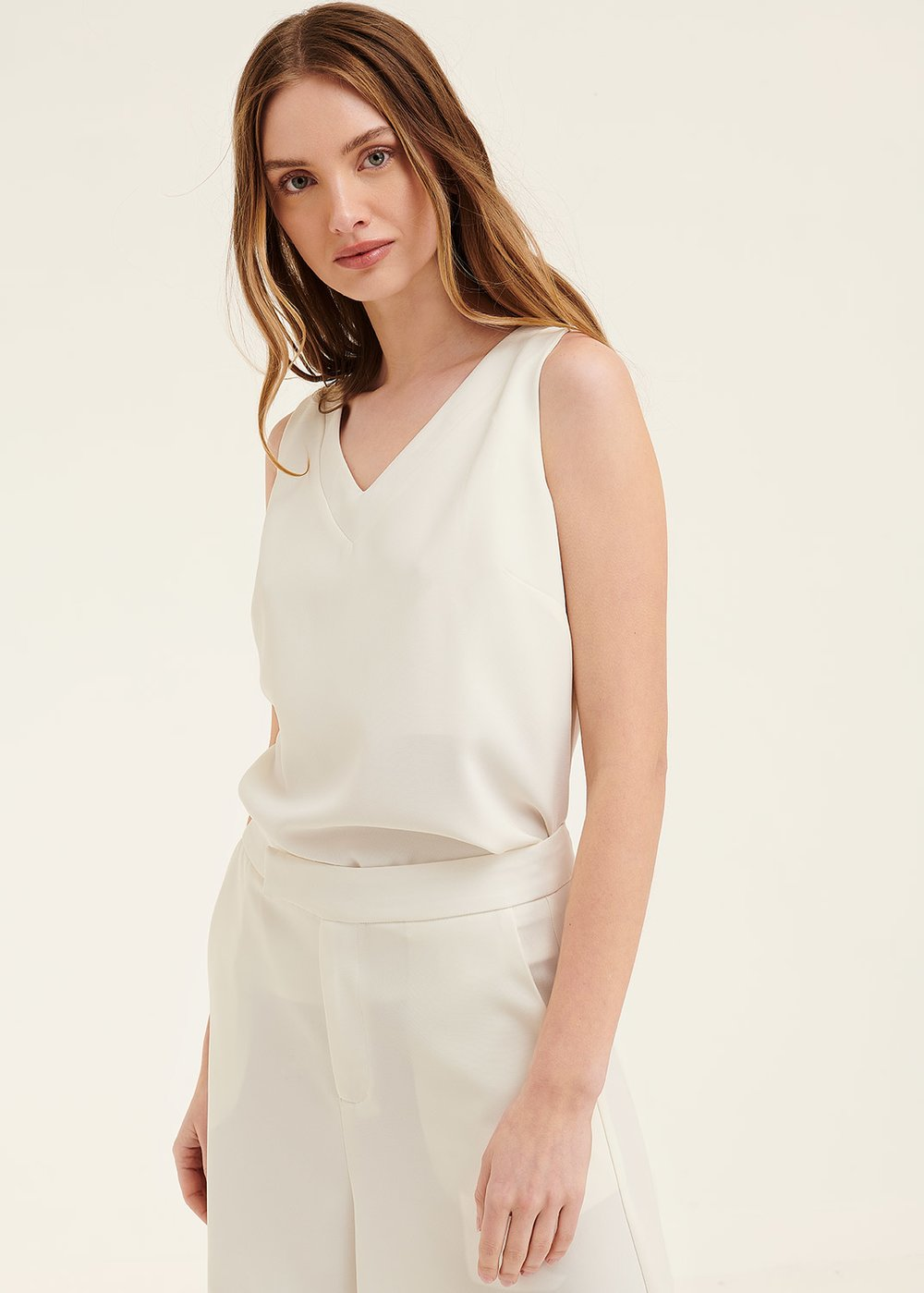 Asia top in fluid fabric - White - Woman