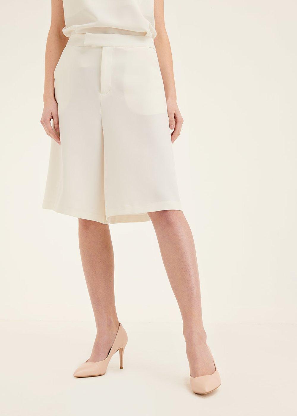 Ashley wide-leg bermuda shorts - White - Woman