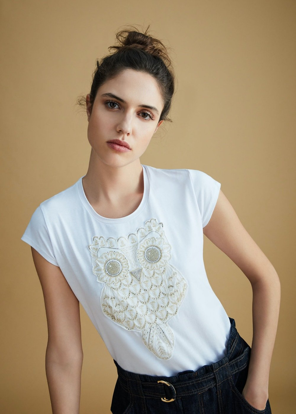 T-shirt Kate con patch gold - White - Donna