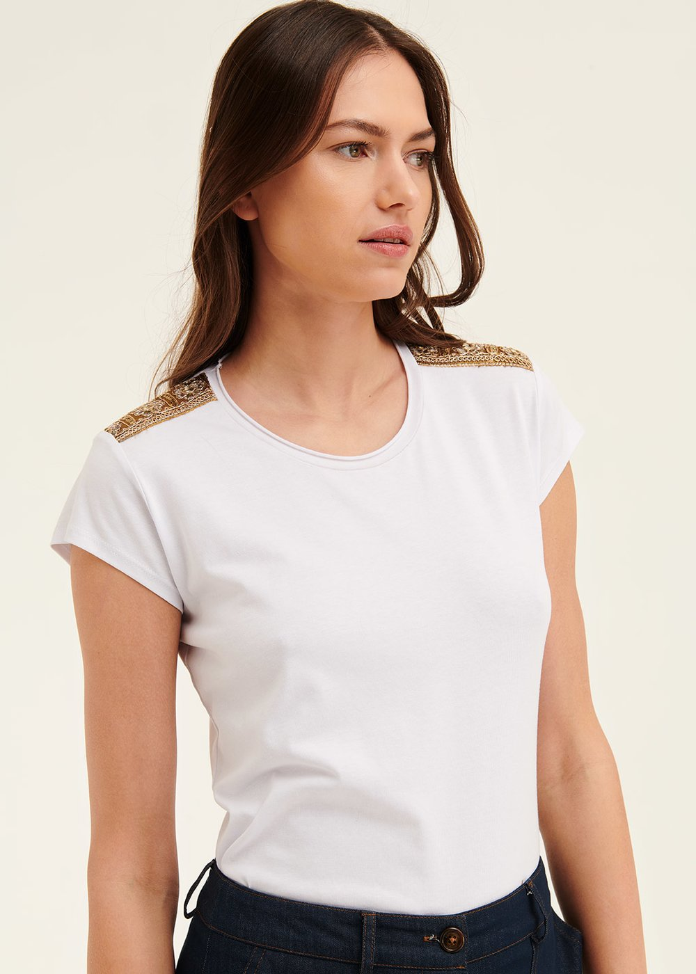 Kate t-shirt with shoulder patches - White - Woman