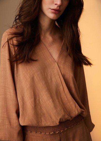 Elena blouse with crossed neckline