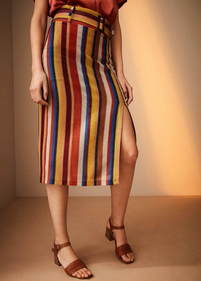 Victoria skirt with multicoloured stripes