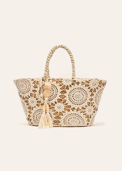Barcelona crochet and straw beach bag
