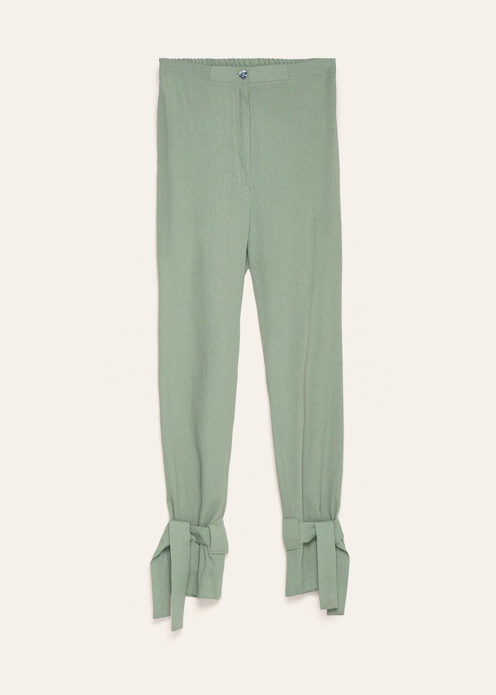 Pantaloni Stephanie con fiocchi al fondo - Argilla - Donna