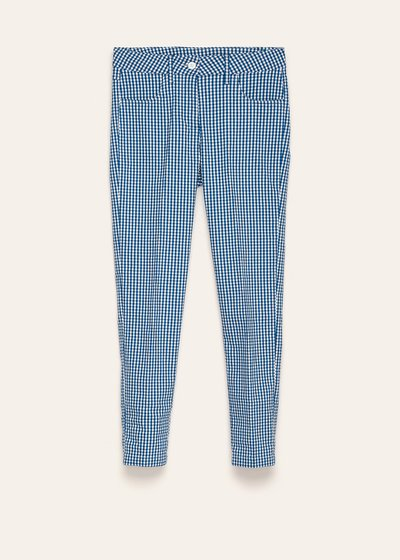 Kate trousers with micro check pattern in shades of blue depths