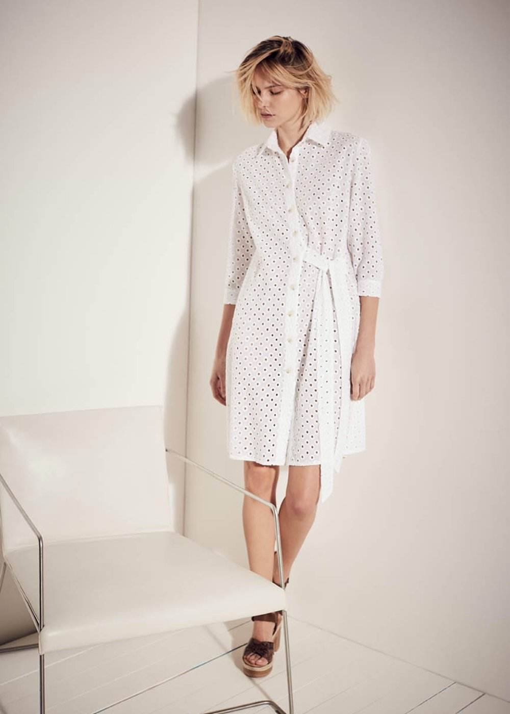 Carrie crossed shirt dress - White - Woman